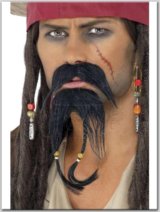 kalóz fekete bajusz és szakáll