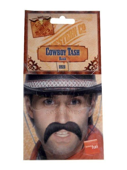 Fekete cowboy bajusz az EveNue COSTUMES jelmezkölcsönző szalon kínálatából