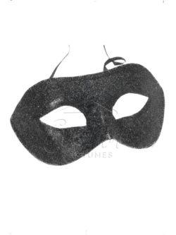 Fekete csillogó szemmaszk az EveNue COSTUMES jelmezkölcsönző szalon kínálatából