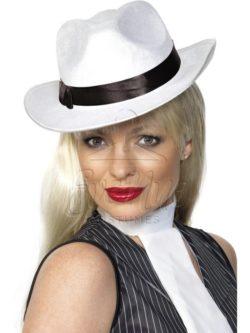 Fehér gengszter kalap az EveNue COSTUMES jelmezkölcsönző szalon kínálatából