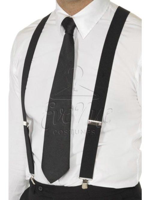 Fekete nadrágtartó az EveNue COSTUMES jelmezkölcsönző szalon kínálatából