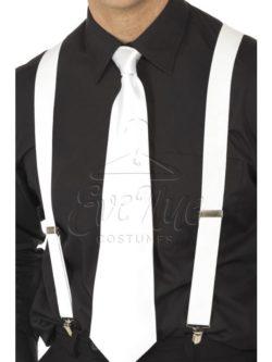 Fehér nadrágtartó az EveNue COSTUMES jelmezkölcsönző szalon kínálatából