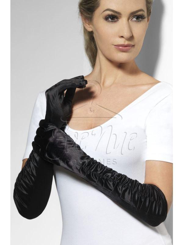 Fekete női hosszú húzott kesztyű az EveNue COSTUMES jelmezkölcsönző szalon kínálatából
