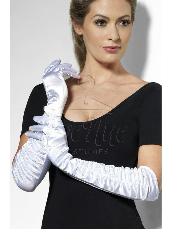 Fehér hosszú húzott női kesztyű az EveNue COSTUMES jelmezkölcsönző szalon kínálatából