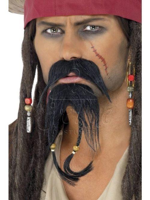 Fekete kalóz bajusz és szakáll az EveNue COSTUMES jelmezkölcsönző szalon kínálatából