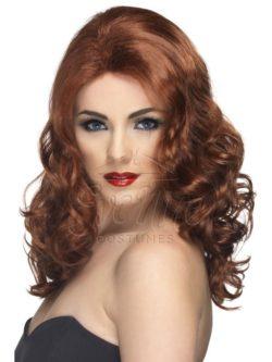 Vörösesbarna színű, hullámos női paróka az EveNue COSTUMES jelmezkölcsönző szalon kínálatából
