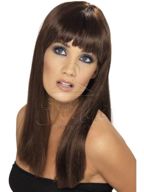 Barna színű, hosszú frufrus női paróka