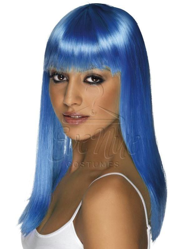 Neon kék női paróka az EveNue COSTUMES jelmezkölcsönző szalon kínálatából