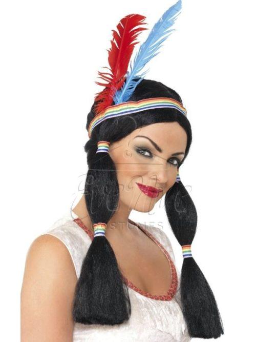 Indián női karakter paróka az EveNue COSTUMES jelmezkölcsönző szalon kínálatából