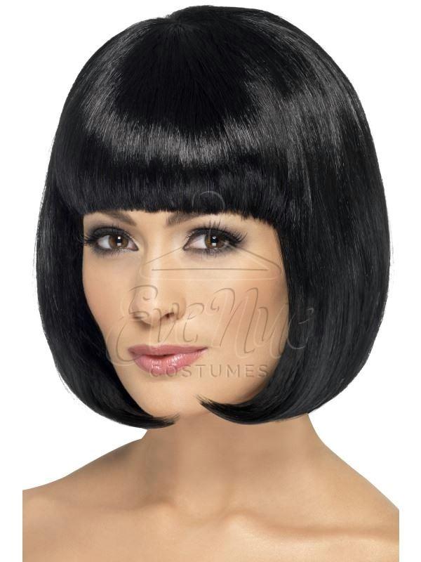 Fekete színű, rövid női paróka