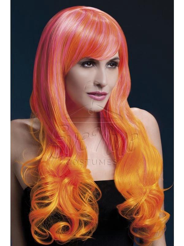 Pink és narancs színű hővel formázható női paróka