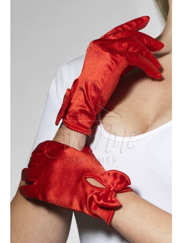 Piros rövid masnis női kesztyű az EveNue COSTUMES jelmezkölcsönző szalon kínálatából