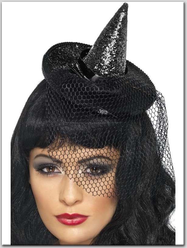 fekete mini boszorkány kalap