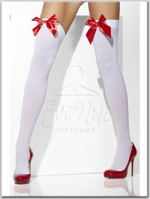 Fehér színű piros masnis combfix az EveNue Costumes jelmezkölcsönző szalon kínálatából