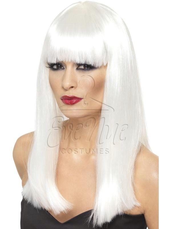 Glamourama fehér hosszú női paróka az EveNue COSTUMES jelmezkölcsönző szalon kínálatából